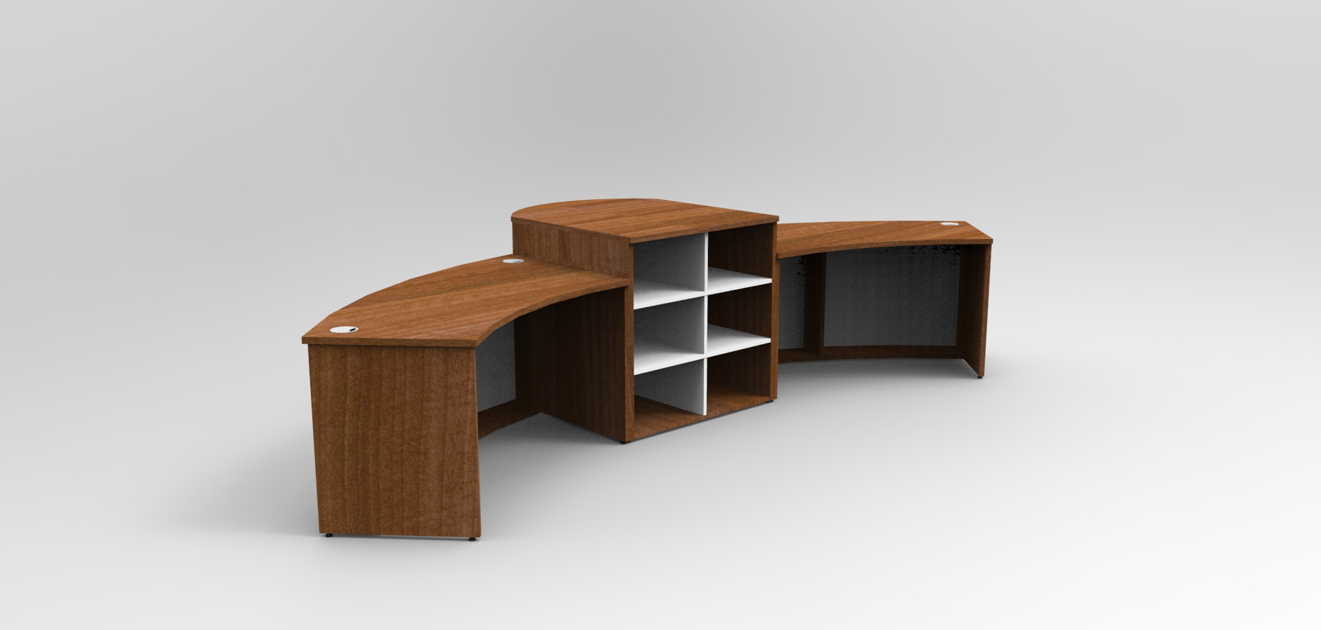 Image 504A - Aero reception desk with a high centre signing counter showing the shelf storage to the rear.