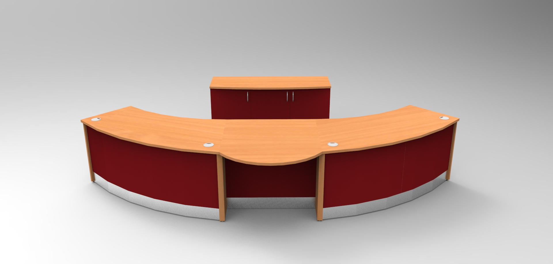 Image 318A - Aero curved DDA reception desk finished in Beech and Burgundy.