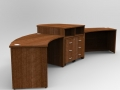 Image 435A - Walnut Aero reception desk with a high centre signing counter showing the pedestal storage drawer units to the rear.