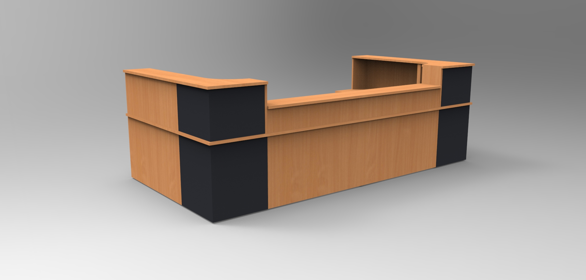 Image 32C - Classic reception desk - Beech & Graphite with a half height top unit
