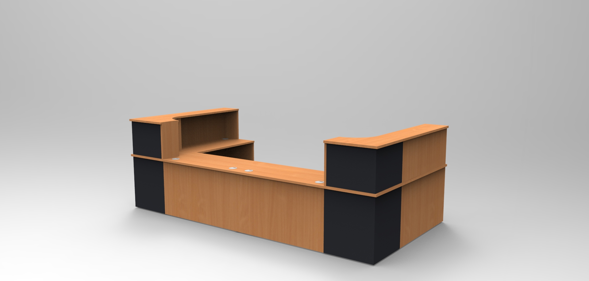 Image 34C - Classic reception desk -Beech & Graphite Grey with an open front