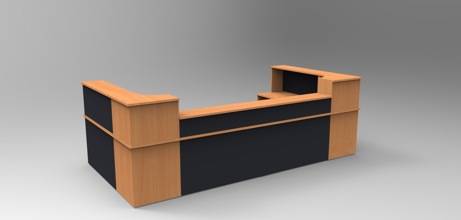 Image 33C - Classic reception desk - Beech & Graphite with a half height top unit4C -