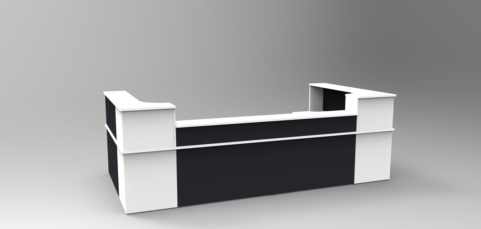 Image 20C- White and Black Classic reception desk