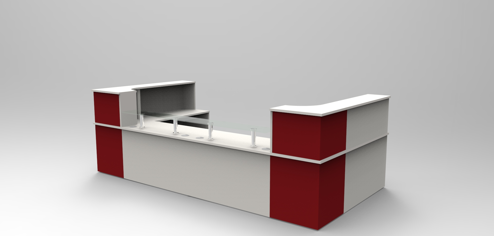 Image 27C -Classic reception desk -Light Grey & Burgundy with Glass shelves