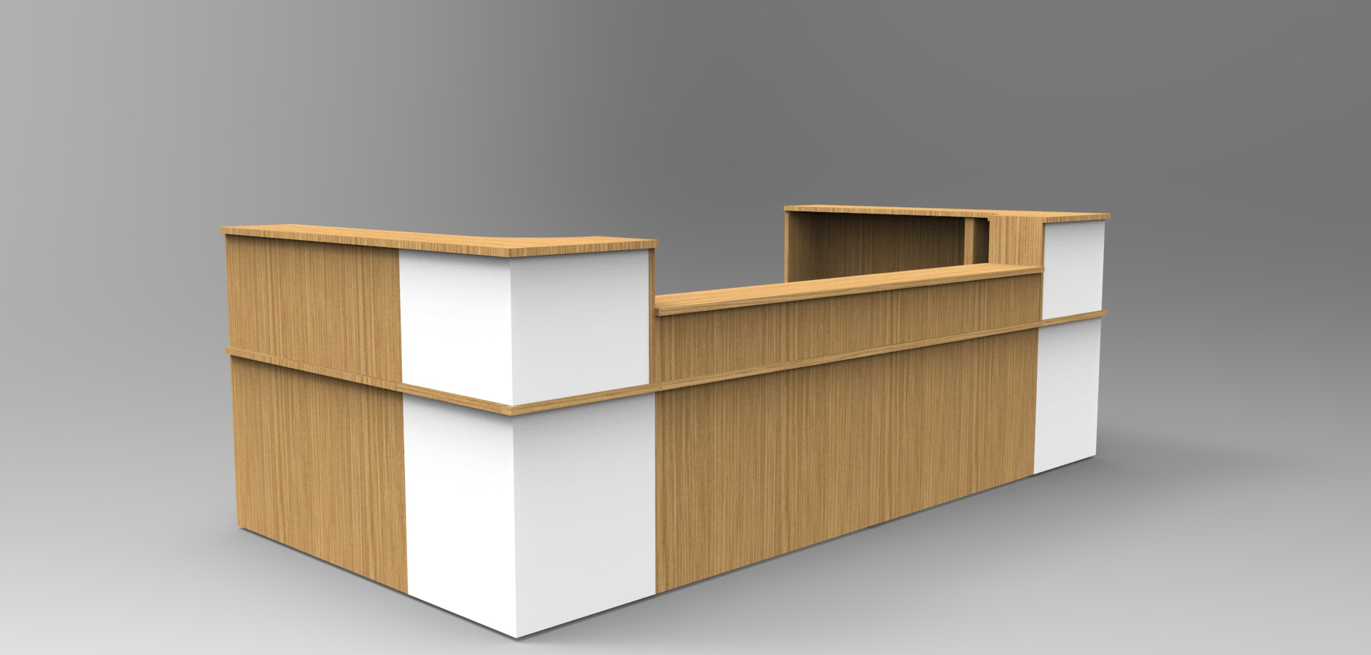 Image 44C - Oak & White Classic reception desk with a half height top unit