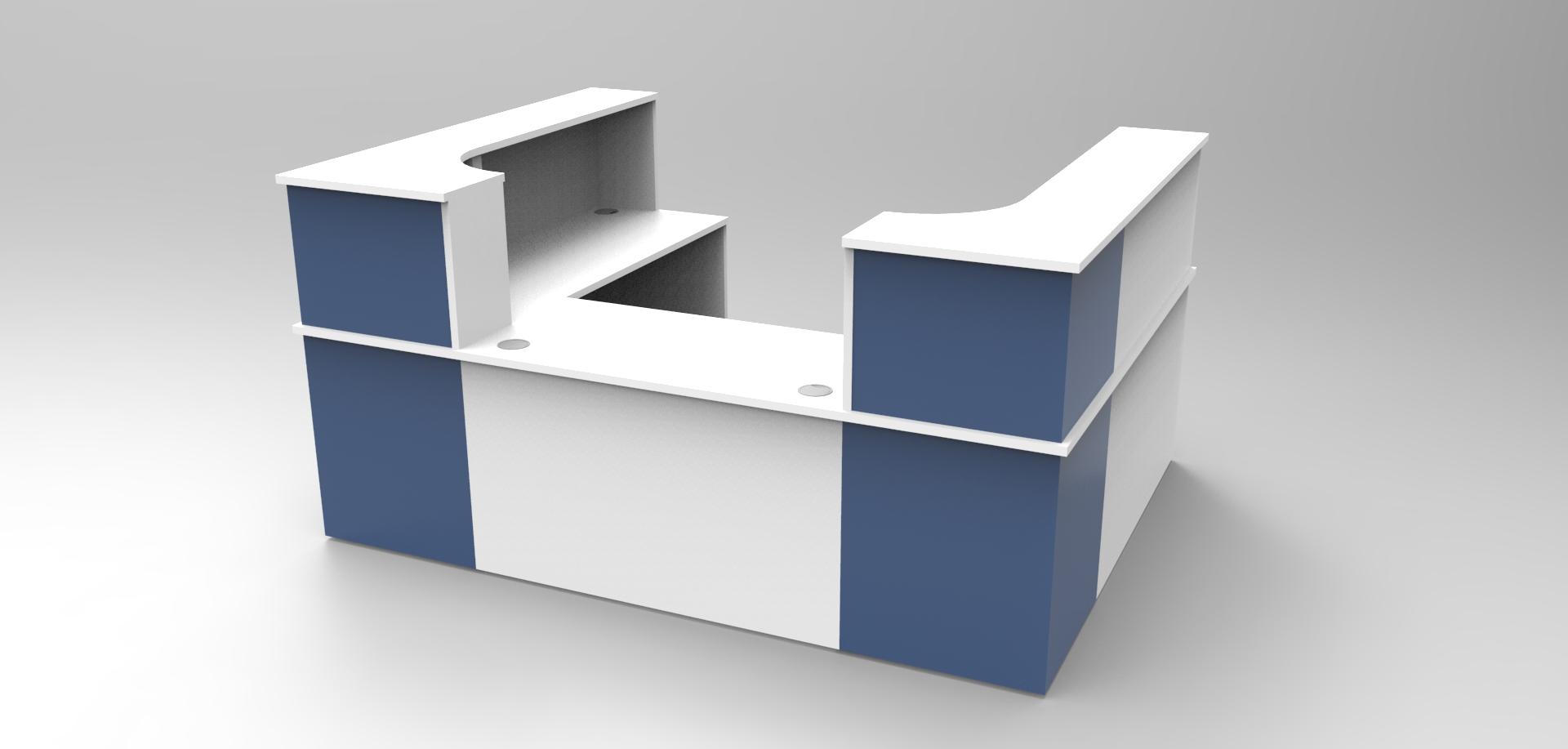 Image 16C- Single front unit White & Blue Classic reception desk