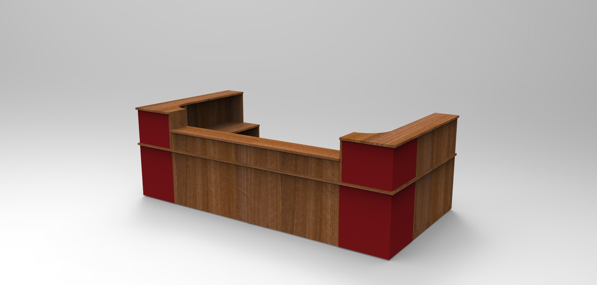 Image 43C - Image 14C Classic Walnut & Burgundy reception desk with half height top units