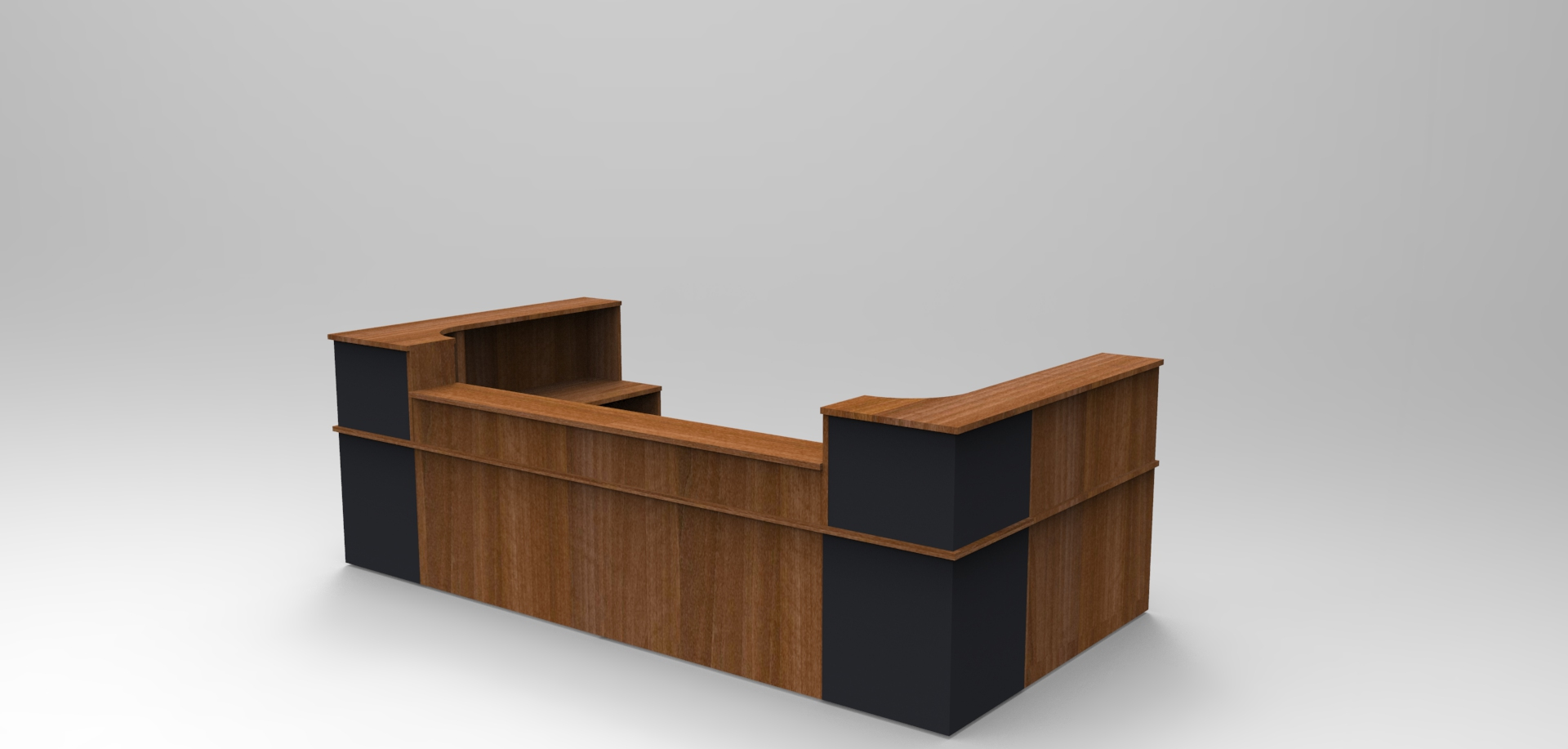 Image 47C - Walnut & Graphite Classic reception desk with a half height top unit