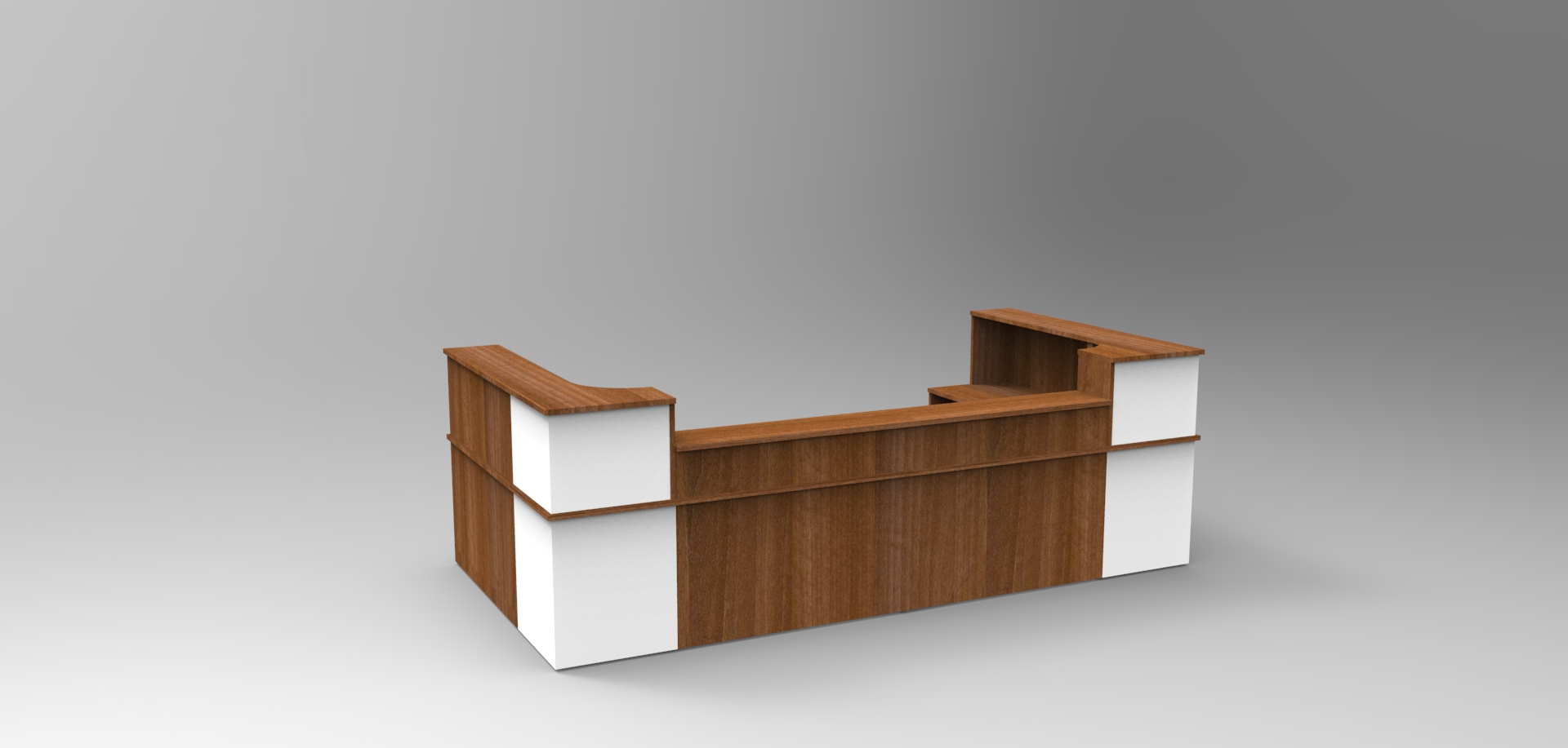 Image 38C - Classic reception desk finished in Walnut & White with a half height top unit