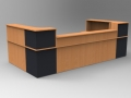 Image 41C - Classic reception desk finished in Beech & Graphite Grey with a half height top unit
