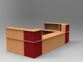 Image 35C -Beech & Burgundy Classic reception desk -Open frontopen front
