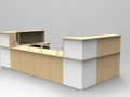 Image 40C - Classic reception desk finished in Maple & White with Glass shelves