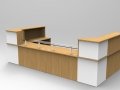 Image 45C - Oak & White Classic reception desk with glass shelves