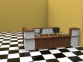 Room 9C- Walnut and White Classic reception desk with only one return side
