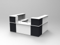 Image 28C- Single Classic reception desk finished in White With Graphite corner units