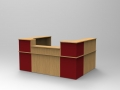 Image 22C - Single Classic reception desk with low topbox finished in  Oak & Burgundy.