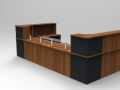 Image 48C - Walnut & Graphite Classic reception desk with glass shelves