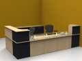 Image 11C Classic reception desk finished in Maple and Graphite with a glass shelf to the front unit with matching storage
