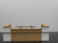 Image 7C -Oak and White Classic reception desk with Glass shelf