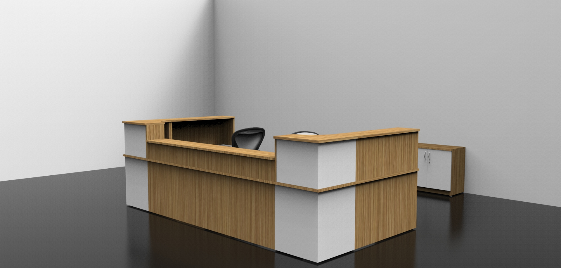 Image 6C - Oak and White Classic reception desk with a low front top unit