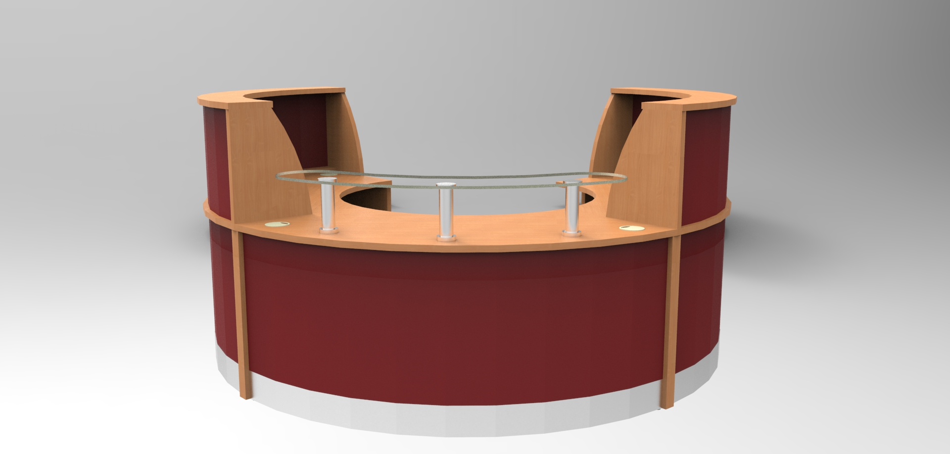Image 36F/LP -Large Flex Polo Beech and Burgundy reception desk (2400mm wide x 2050mm deep).