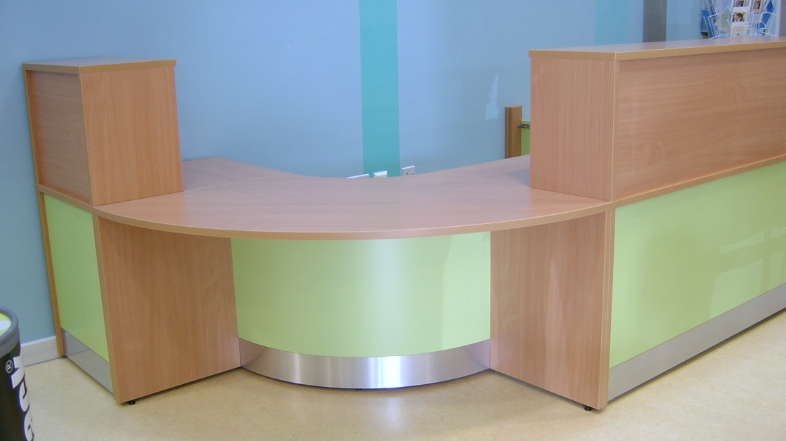 Image 4F - Flex Bespoke DDA reception desk- Beech and Lime Green