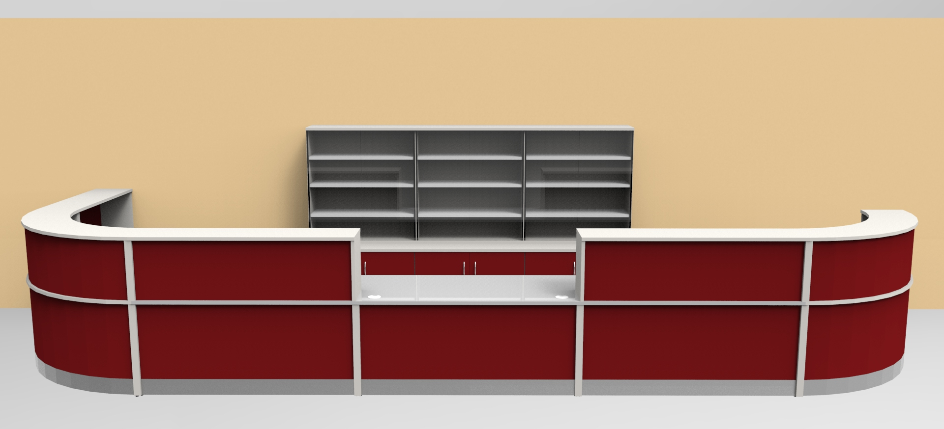 Image F40L- Large Flex reception desk with matching storage.