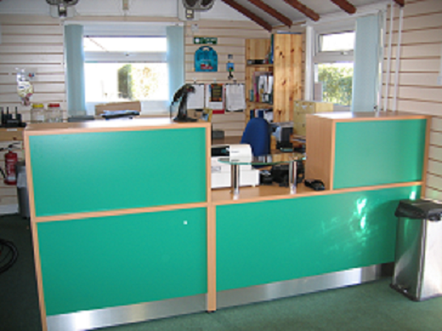 Image 8F Flex Bespoke Reception desk -Beech-and-green