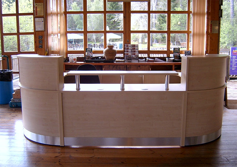 Image 25F - Landmark Forest Adventure Park- Flex bespoke reception desk  Maple -  front view