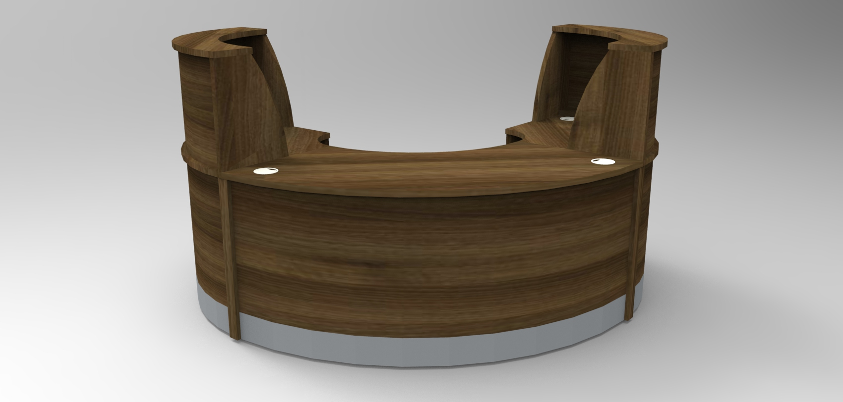 Image 27F/SP - Flex Small Polo reception desk  - Walnut (2166mm wide x 1483mm deep)