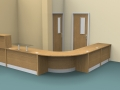 Image 18F Flex Oak DDA Dental surgery reception desk with a gate and flap