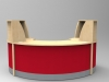 Image 31F/SP - Flex Small Polo reception desk - Maple and Red (2166mm wide x 1483mm deep)