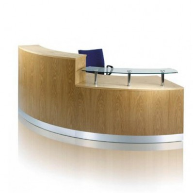 ECFC605- Curved wood veneer reception desk
