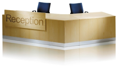 ECFA610- 2 Person angled wood veneer reception desk