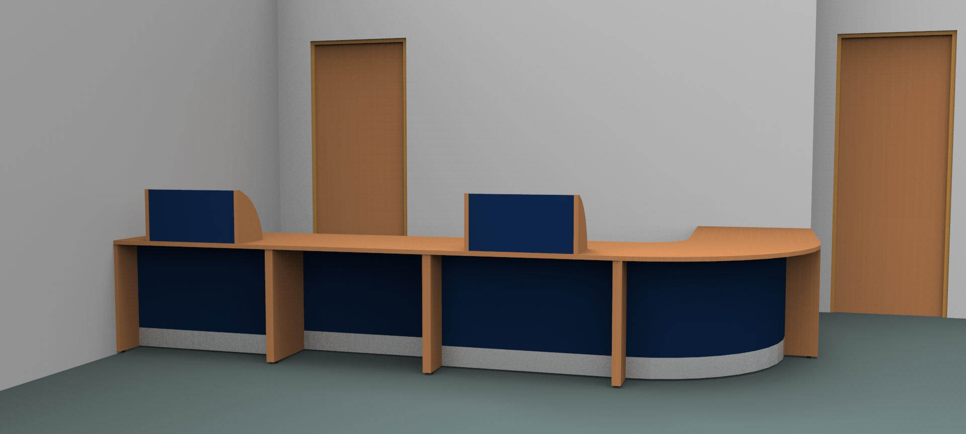 Render-Bespoke Flex reception desk - front view