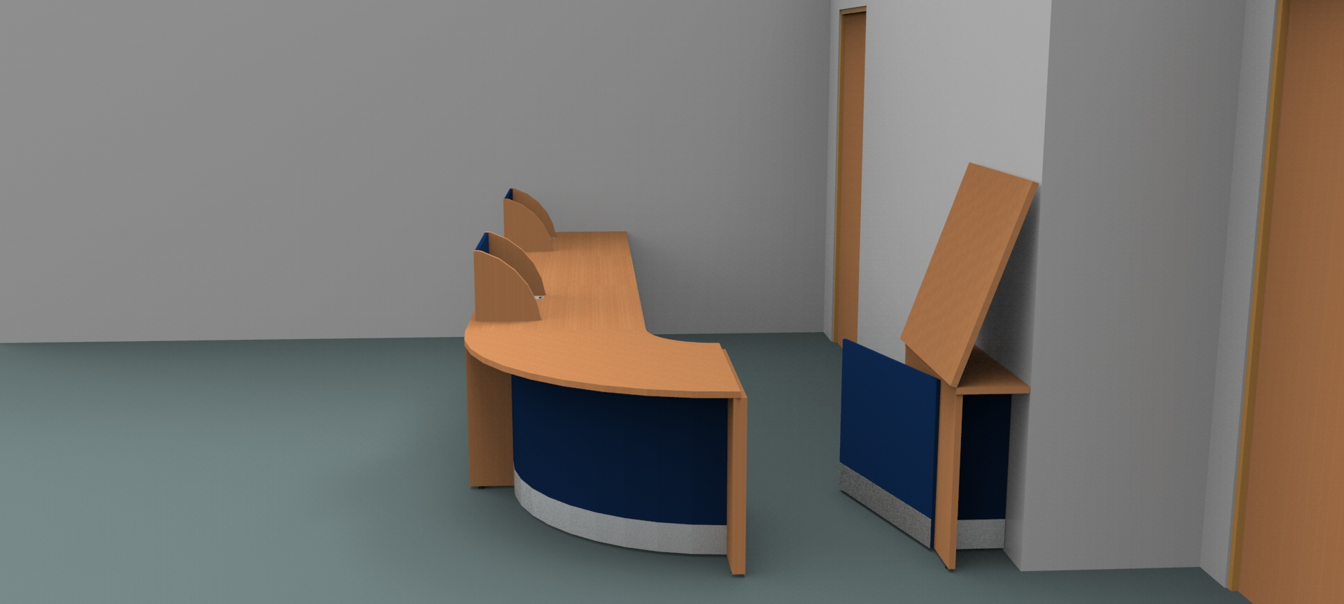 Render-Bespoke Flex reception desk -Gate and Flap