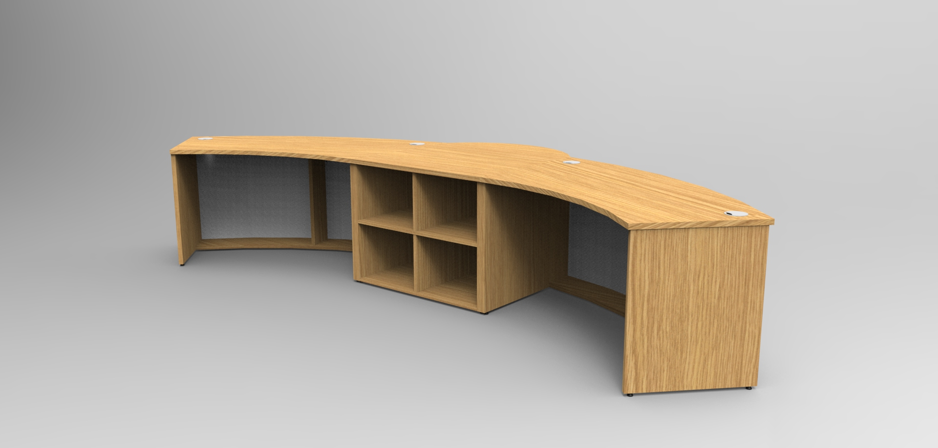 Render- Rear of an Aero reception desk showing cubby hole storage.