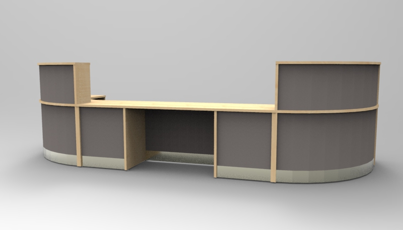 Render- A large Flex DDA reception desk finished in Maple with Dust Grey modesty panels.