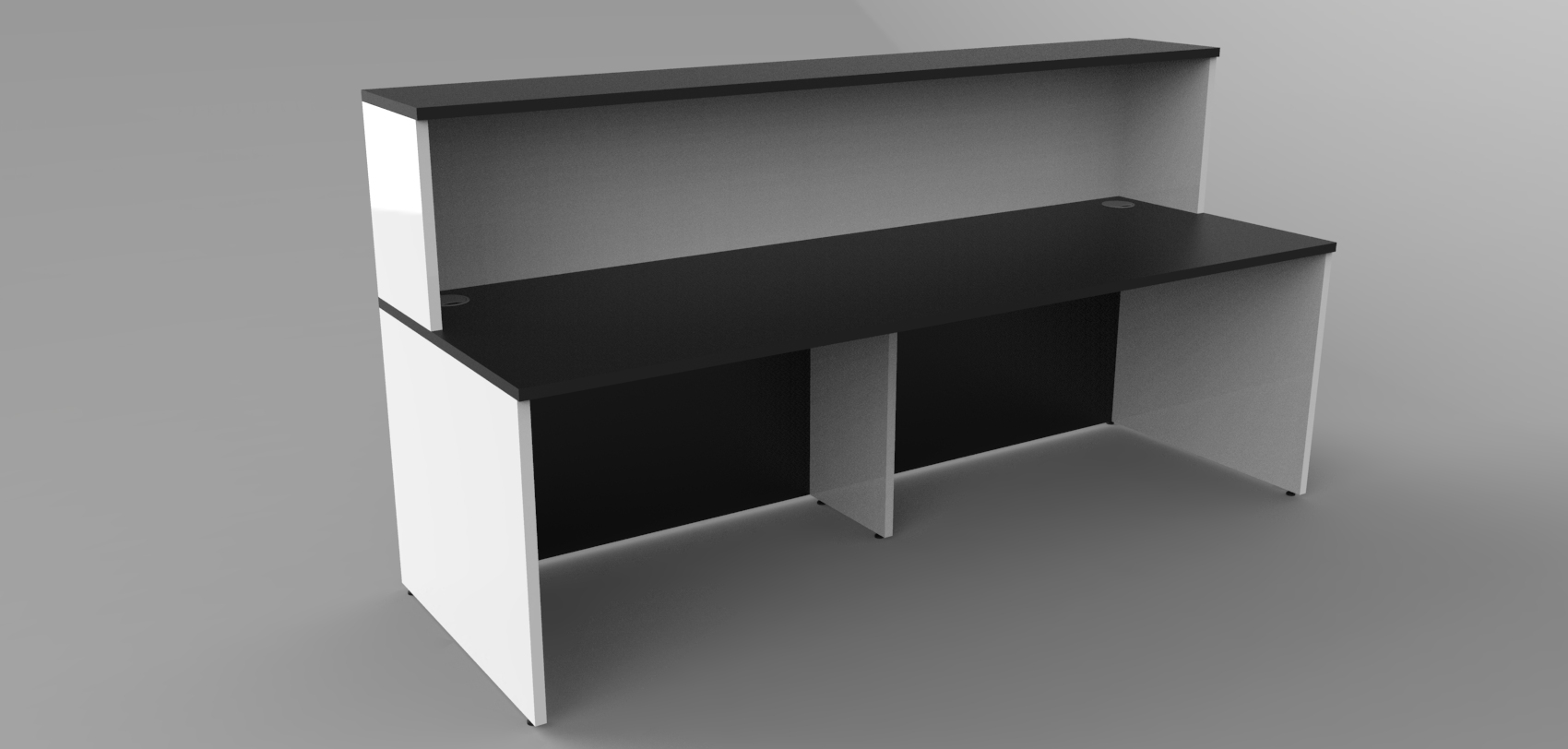 Render- Simple straight reception desk with a recessed modesty panel Black/Whiterear view