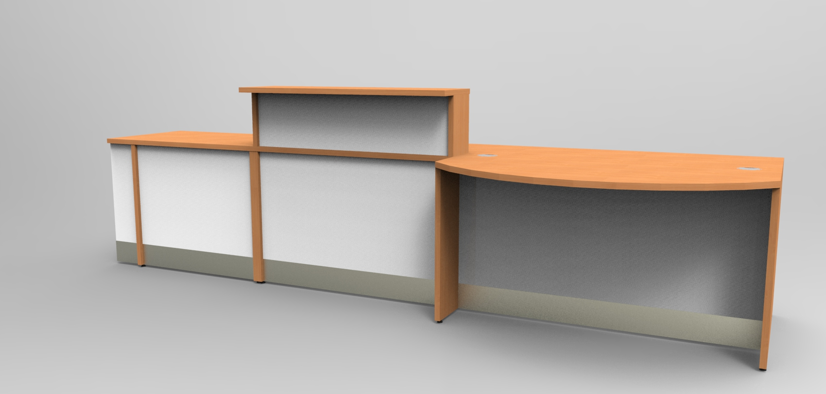 Render- Bespoke DDA reception desk finished in Beech and White