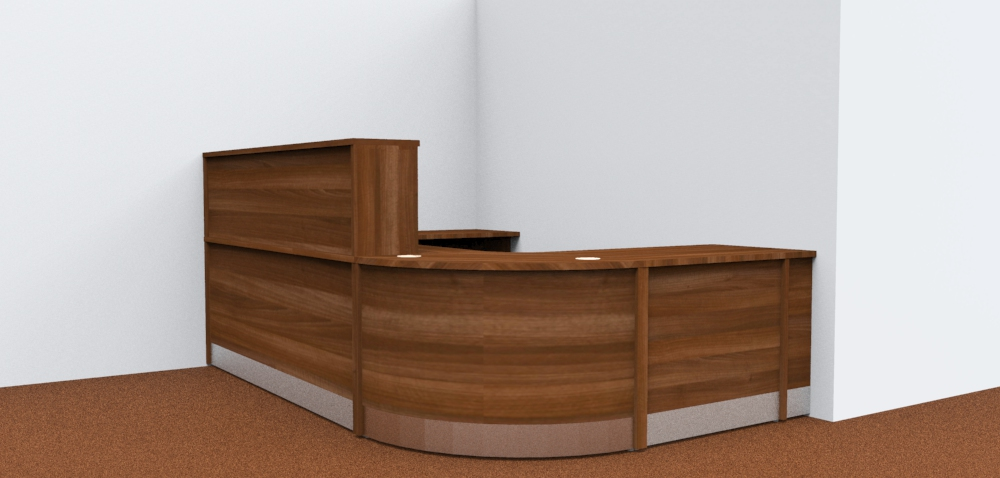 Render- Flex modular reception desk with a gate and flap