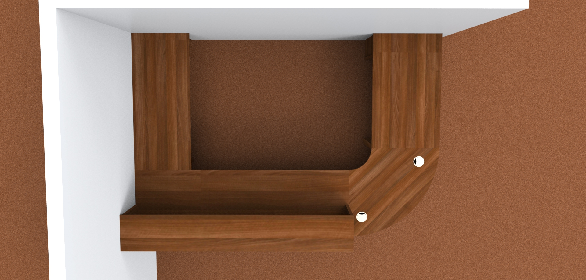 Render- Flex modular reception desk with a gate and flap, Shown from above.