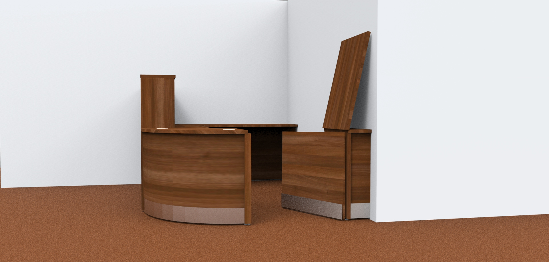 Render- Flex modular reception desk with a gate and flap open