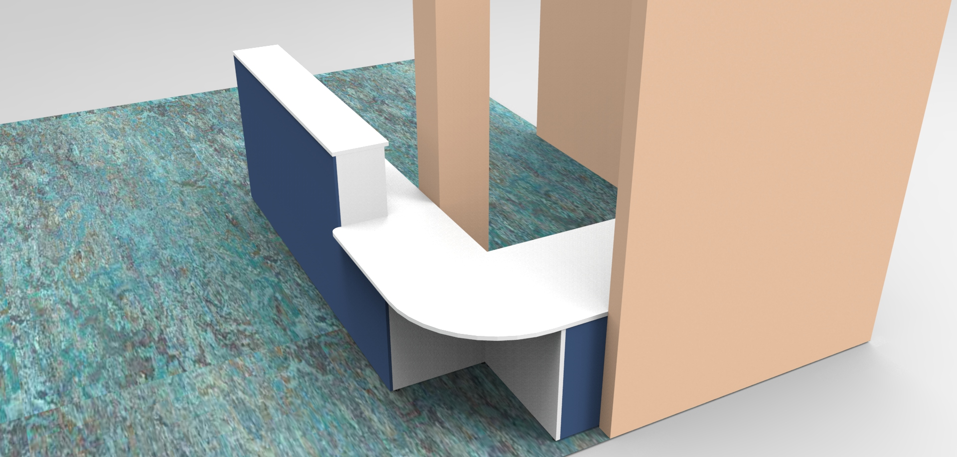 Render- Bespoke DDA reception desk high corner view