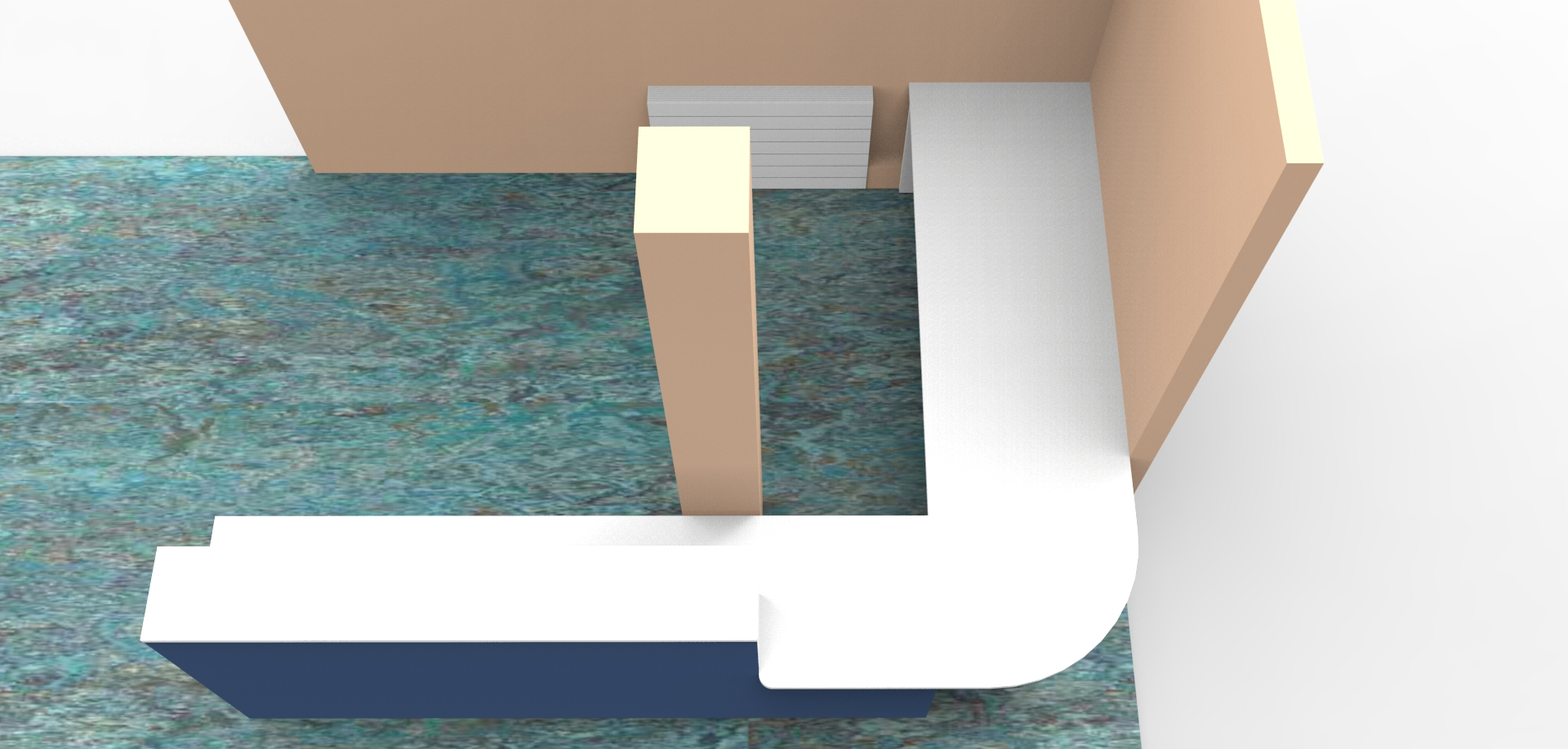 Render- Bespoke DDA reception desk high view