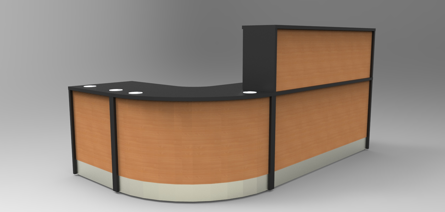 Render -Flex standard modular reception desk finished in Black and Beech