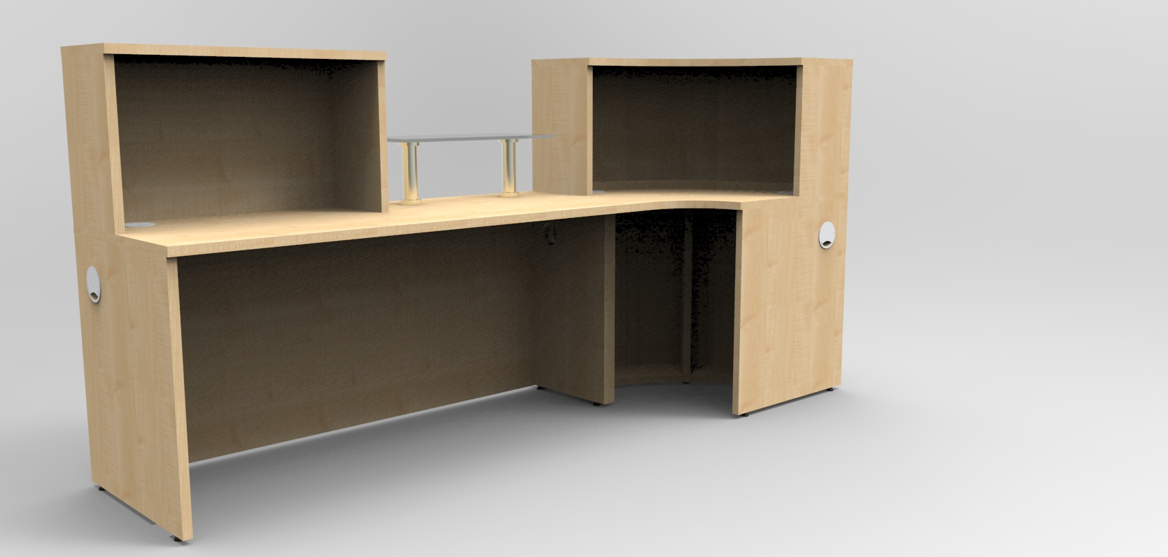 Render - Bespoke Maple reception desk with glass shelf