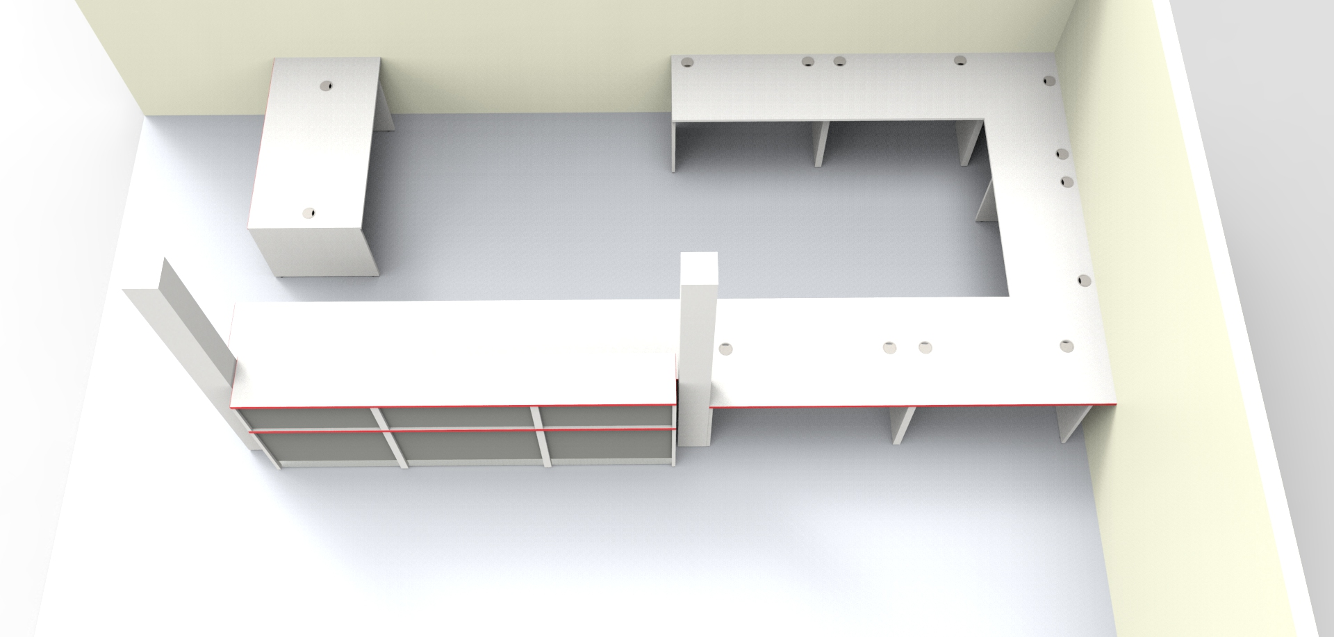 Render - Large bespoke reception desk finished in the clients company colours Light Greyand Titanium with Red edging View from above