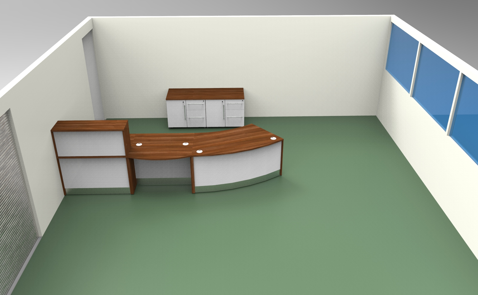 Render- Room render showing the reception desk with storage to the rear.