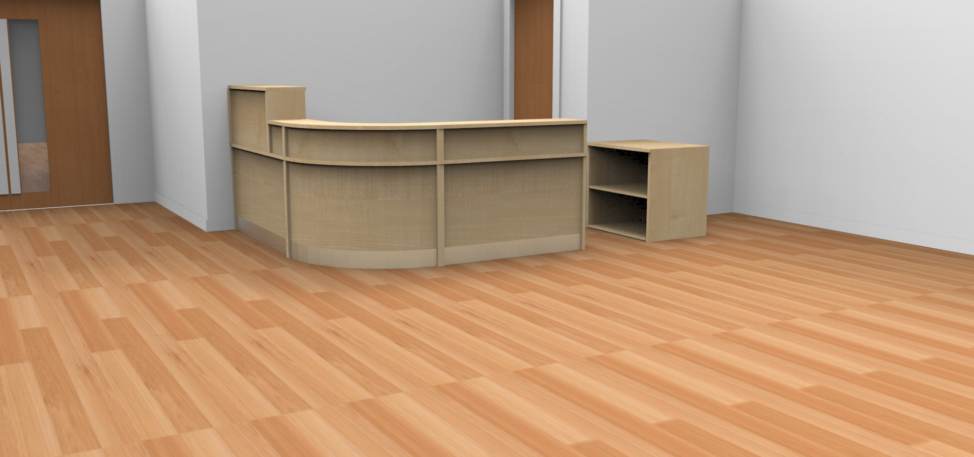 Render- Bespoke Flex reception desk with high and low top units finished in Maple